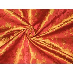 Silk Brocade fabric Flaming Orange & Gold
