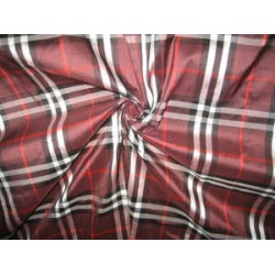 Silk Dupioni fabric Plaids red wine and black DUPC42