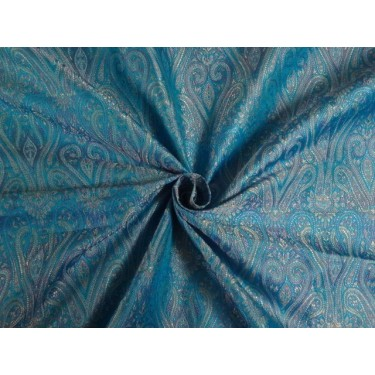 "JAMAWAR SILK BROCADE FABRIC Blue & Multi Color 44"" BRO293[1] single length 1.65 yds"