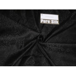 SPUN SILK BROCADE FABRIC Black COLOR 44""