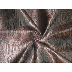 Spun SILK BROCADE FABRIC Black & Metallic Antique Rose GOLD 44""