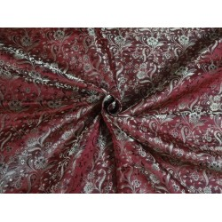 SPUN viscose BROCADE FABRIC Red & Metallic Gold Color