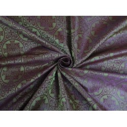viscose Silk Brocade Vestment Fabric Green & Purple color 44""