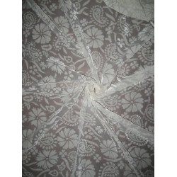Polyester viscose burnout Ivory Velvet fabric 44""