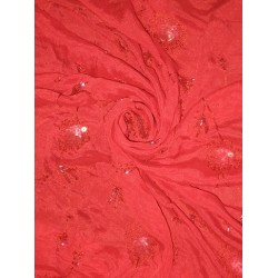 Red soft silk crepe fabric with embroidery and sequin