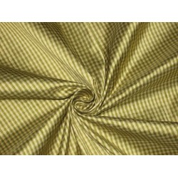 SILK Dupioni FABRIC Green & Golden Cream color plaids