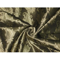 Spun Silk Brocade Fabric Black & Gold 44""