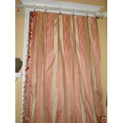 custom made dupioni drapes with satin stripes