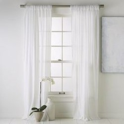 "3"" rod top linen curtains white ivory set of 2 53"" wide and 90"" long"