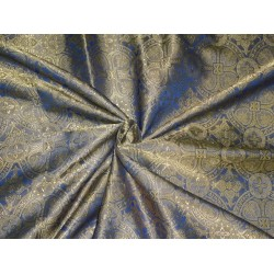 "BROCADE FABRIC INK BLUE X GOLDEN DARK BEIGE 44"" INCH"