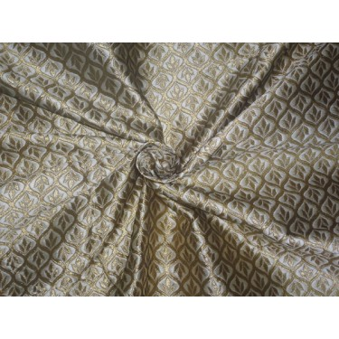 "Brocade Fabric Cream x Gold Color 48""Bro524[2]"