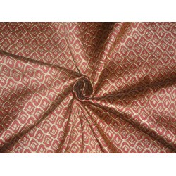 Brocade Fabric Burgundy x Gold Color 48""