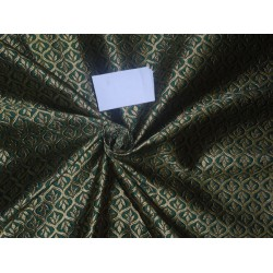 "Brocade Fabric Emerald Green x Gold Color 48"" wide sold by the yard Bro525[4]"