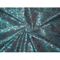 Brocade Fabric Black x Green Color 58""