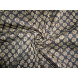 "Brocade fabric Black,Brown X Metallic Copper Color 44""Cut Pcs 2.15yrd"