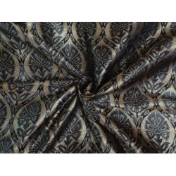 Brocade fabric Black X Old Metallic Gold Color 44""