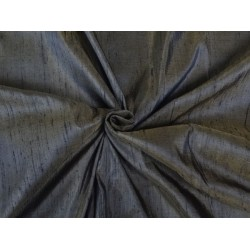 100% PURE SILK DUPIONI FABRIC DUSTY DEEP BROWN X BLACK 54 WITH SLUBS*