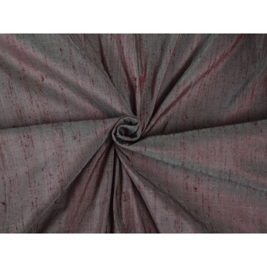 "100% PURE SILK DUPIONI FABRIC BLOOD RED X IVORY SHOT 54""WITH SLUBS*"