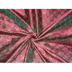 BROCADE FABRIC EMERALD GREEN X RED COLOR 44""