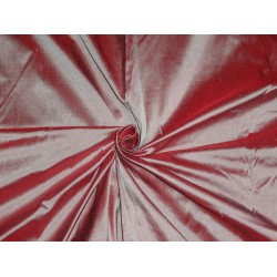"100% PURE SILK DUPIONI FABRIC RED X DUSTY MAUVE 54""WITH SLUBS*"