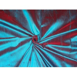 "100% PURE SILK DUPIONI FABRIC RED X BLUE 54""WITH SLUBS*"