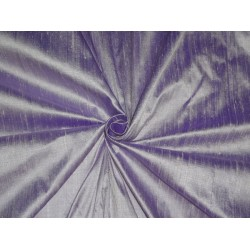 "100% PURE SILK DUPIONI FABRIC PURPLE X IVORY SHOT 54""WITH SLUBS* MM65[2]"