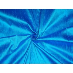 "100% PURE SILK DUPIONI FABRIC DEEP BLUE X AQUA BLUE 54""WITH SLUBS*"