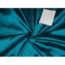 "100% PURE SILK DUPIONI FABRIC DEEP OCEAN BLUE X DARK BLUE 54""WITH SLUBS*"