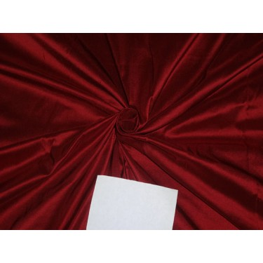100% PURE SILK DUPIONI FABRIC WINE RED 54