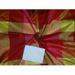 100% PURE SILK TAFFETA FABRIC MULTI COLOR PLAIDS 54""