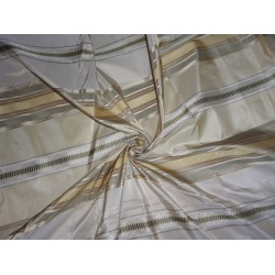 SILK TAFFETA FABRIC GOLD,CREAM & GREEN COLOR WITH SATIN STRIPES 54""