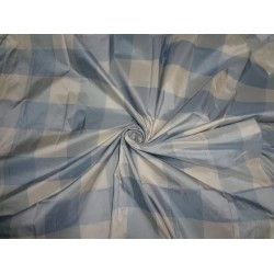 PURE SILK TAFFETA FABRIC BLUE X IVORY COLOR PLAIDS 54""