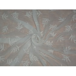 SILK CHIFFON EMBROIDERY WITH WHITE BEADS 36""