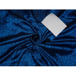 "100% PURE SILK BROCADE VESTMENT DARK BLUE X BLACK COLOR 44""INCH BRO478[5]"