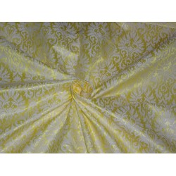 """BROCADE FABRIC LIME YELLOW X CREAM COLOR 44""""INCH"""