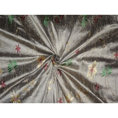 GOLD X BLACK SILK DUPION FABRIC WITH EMBROIDERY CUT LENGTH 2.95 YARDS