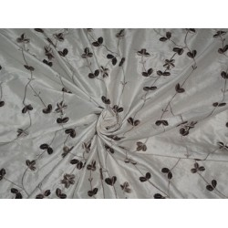 SILK DUPION IVORY WITH BROWN VELVET EMBROIDERY CUT LENGTH 4.75 YARDS