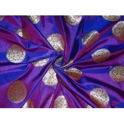 "100% silk brocade iridescent pink purple x mettalic gold  44""BRO493[1]"