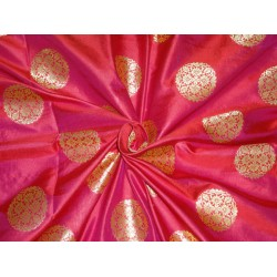 "100% silk brocade bright red x mettalic gold 44"" BRO493[2]"