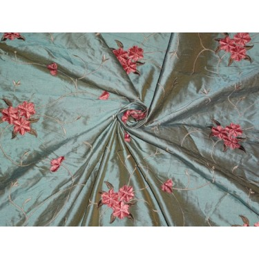 "54""WIDE SILK DUPIONI FABRIC IRIDESCENT DUSTY BLUE X MUSTARD WITH  VELVET FLORAL  EMBROIDERY"