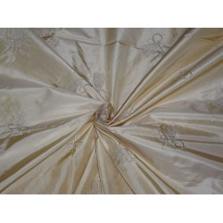 "SILK TAFFETA FABRIC LIGHT GOLD X GOLD EMBROIDERY 54"" WIDE"