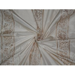 "SILK TAFFETA FABRIC CREAM X GOLD EMBROIDERY 54"" WIDE"