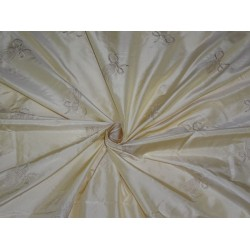 "Silk Taffeta Fabric Cream Embroidery 54"" Wide"
