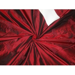 "Silk Taffeta Fabric Wine Black Embroidery 54"" Wide"
