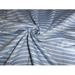 "LINEN FABRIC~58"" WIDTH~WHITE COLOR WITH NAVY BLUE HORIZONTAL STRIPE"