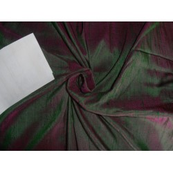 "100% pure silk dupioni fabric green x magenta pink 44"" with slubs"