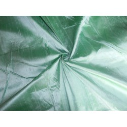 "100% PURE SILK DUPIONI FABRIC GREEN X IVORY 54"" WITH SLUBS"