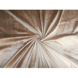 "100% PURE SILK DUPIONI FABRIC IRIDESCENT GOLDEN BROWN 54"" WITH SLUBS"