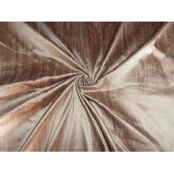 "100% PURE SILK DUPIONI FABRIC BROWN X GOLD 54"" WITH SLUBS"