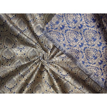 "Brocade~Width 50""~ light gold ,metalic gold and royal blue Color BRO540[4]"